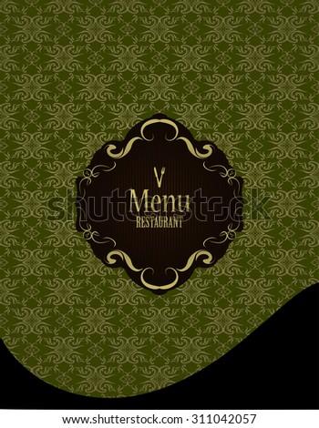 black label restaurant menu design on a vintage patterned background - stock vector