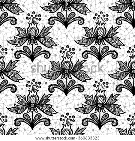 Black lace flower isolated on white background. Vector illustration, fully editable, vector objects separated and grouped. Editable EPS 10 Vector illustrations. - stock vector