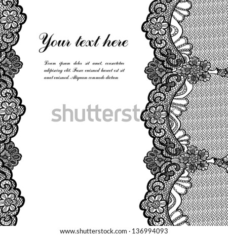 black lace on white background and place for your text - stock vector