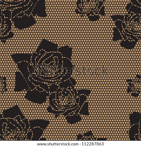 Black lace vector fabric seamless  pattern with roses - stock vector