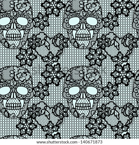 Black lacy skull and flowers.Trendy  vector seamless pattern. - stock vector