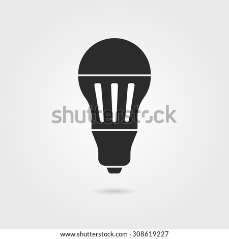 black led bulb icon with shadow. concept of halogen, invention, luminosity, illuminate, energy conservation. isolated on gray background. flat style trend modern logo design vector illustration - stock vector