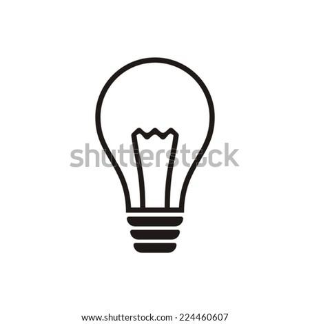 Black light bulb vector icon on white background - stock vector