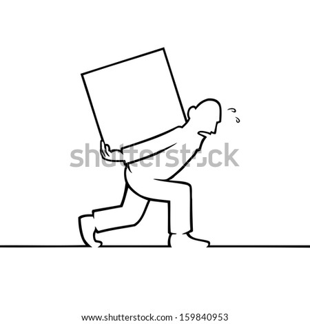 Black line art illustration of a man carrying a heavy box. - stock vector
