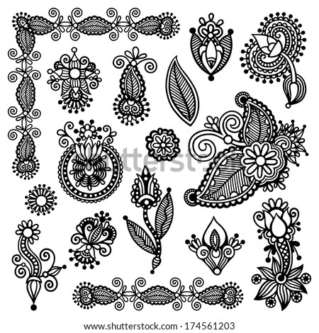 black line art ornate flower design collection, ukrainian ethnic style, autotrace of digital drawing - stock vector