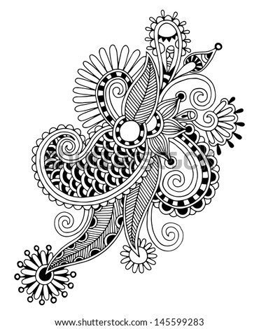 black line art ornate flower design, ukrainian ethnic style, autotrace of hand drawing - stock vector