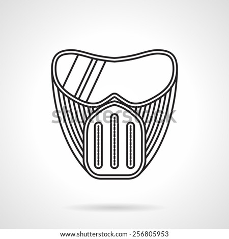 Black line flat design vector icon for paintball protection mask with goggles a front view on white background. - stock vector