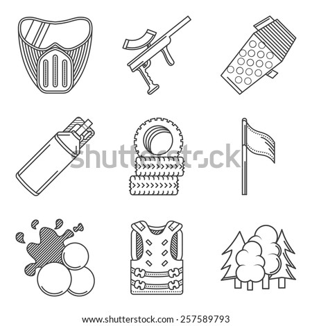 Black line icons vector collection of paintball equipment. Set of black flat line vector icons for paintballing on white background. - stock vector