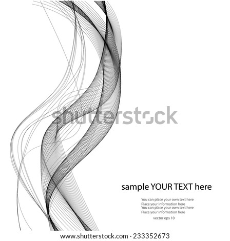 Black lines on wait background - stock vector