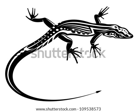 Black lizard with natural decorative ornament for tattoo, such a logo. Jpeg version also available in gallery - stock vector