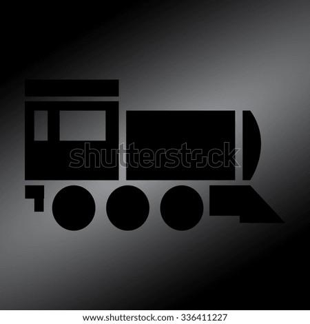 Black Locomotive icon . Vector illustration - stock vector