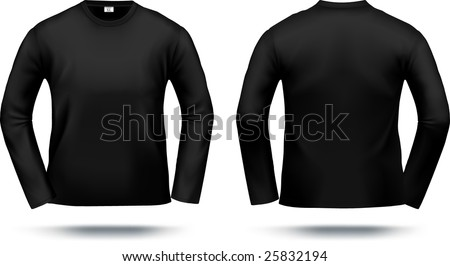 Black long-sleeved T-shirt design template (front & back). Contains gradient mesh elements, lot of details. More clothing designs in my portfolio! - stock vector