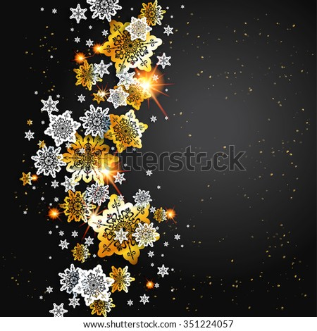 Black luxury background with shine snowflakes. Holiday design for card, banner,ticket, leaflet and so on. - stock vector