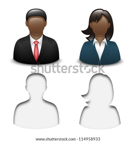 Black male and female user icons. Vector - stock vector