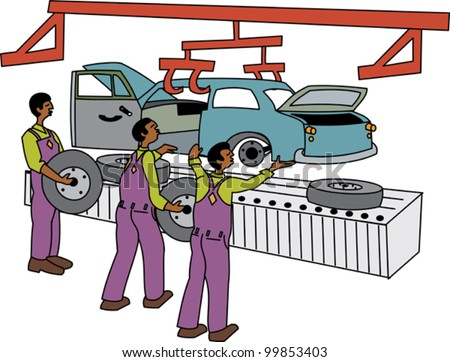 Black male workers on motor vehicle assembly line - stock vector