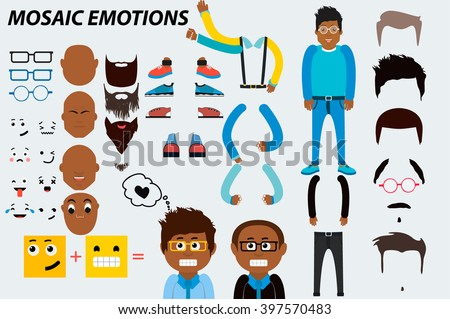 black man emotions characters emotions. Face vector characters mosaic emotions icons. Hipster accessories vector clip-art. Extra gestures, facial expressions and items. design elements of human parts. - stock vector