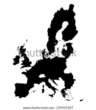Black Map of European Union on white background - stock vector
