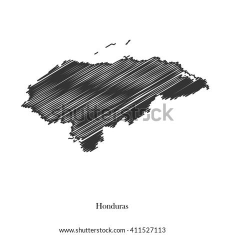 Black map of Honduras for your design, concept Illustration. - stock vector