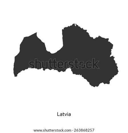 Black map of Latvia for your design, concept Illustration. - stock vector