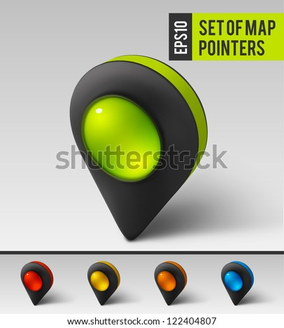 Black map pointer icon. Vector - stock vector