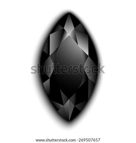 Black marquise cut gemstone  - eps10 vector - stock vector
