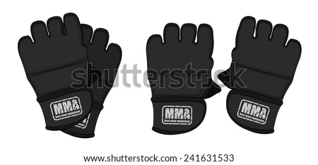 Black martial arts open fingers sparring grappling gloves. Color clip art vector illustration isolated on white - stock vector