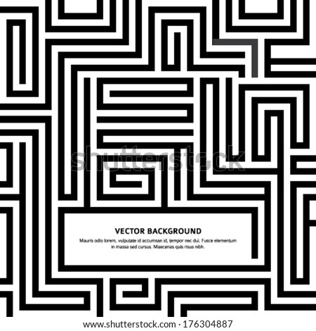 Black Maze texture and place for your text isolated on white background. Abstract vector illustration EPS 10. Solving a problem and finding the best creative solution against a complicated and complex - stock vector