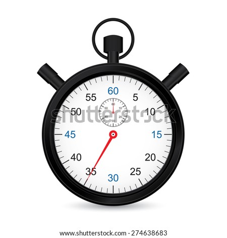 Black metallic stopwatch, web design sport icon. - stock vector