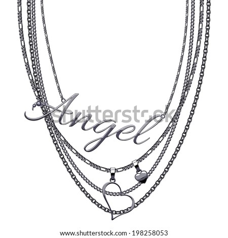 Black metallic tromp e-l' necklace with word Angel and hearts. - stock vector