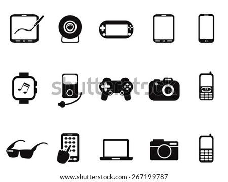 Black Mobile Devices Icon set - stock vector