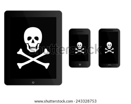 Black Mobile Devices with Pirate Sign - stock vector