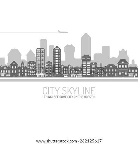 Black modern city view skyline poster with house and commercial buildings vector illustration - stock vector