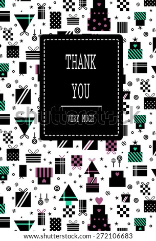 Black modern pattern of gifts with dots and stripes. Stars and candies scattered in intervals. Suitable for invitation, birthday, baby shower, valentine's day and mother's day. Thank you lettering  - stock vector