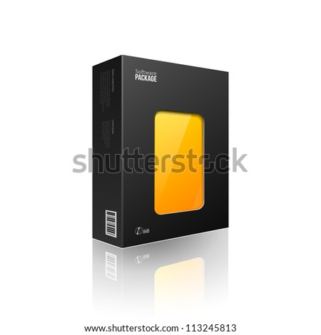 Black Modern Software Package Box With Orange,Yellow Window For DVD Or CD Disk EPS10 - stock vector