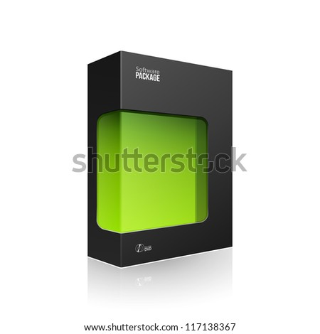 Black Modern Software Product Package Box With Green Window For DVD Or CD Disk EPS10 - stock vector