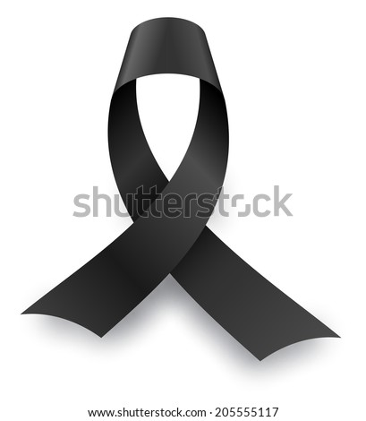 Black mourning knot with shadow isolated on white background. - stock vector