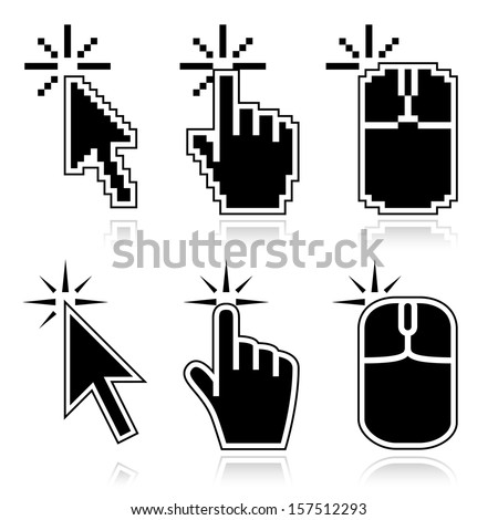 Black mouse cursors set. Click here arrow, hand and mouse left click icons. Good for illustration of place of clicking. - stock vector
