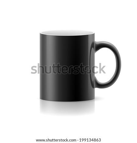 Black mug made of ceramics on white background. - stock vector