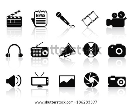 black multimedia icons set - stock vector