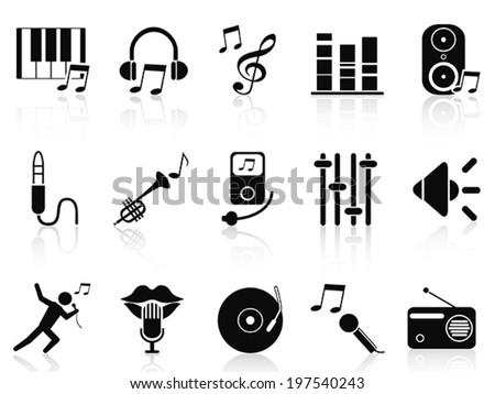 black music audio icons set - stock vector