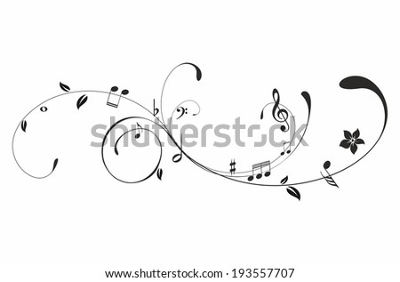 Black music notes on a white background - stock vector