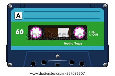 Black musical cassette with blue and green label, audio cassette tape, vector art image illustration, old music technology concept, realistic retro style design. isolated on white background, eps10 - stock vector
