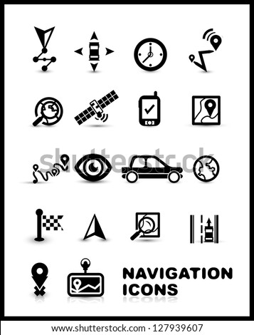 Black navigation icon set isolated on white - stock vector