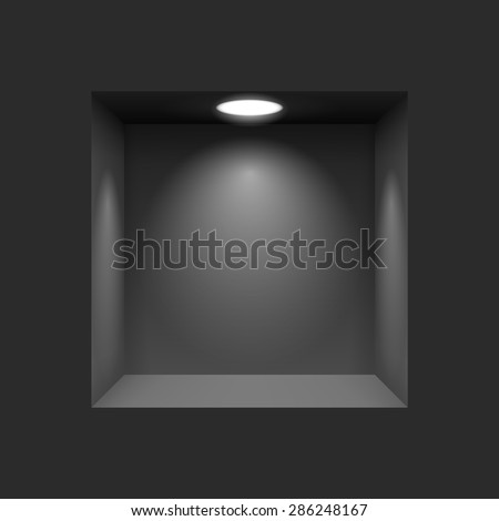 Black niche for presentations with illuminated  light lamp - stock vector