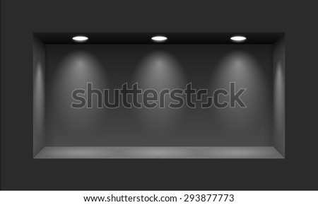 Black niche for presentations with three light lamps - stock vector