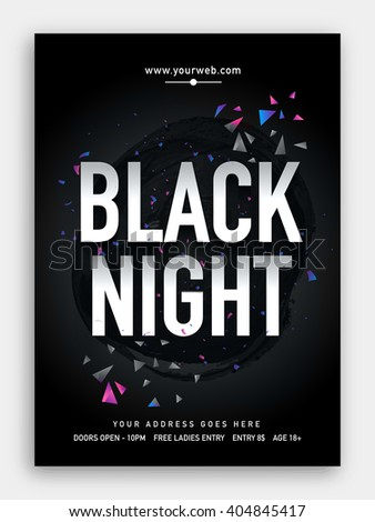 Black Night, Musical Party Template, Dance Party Flyer, Night Party Banner or Club Invitation - stock vector