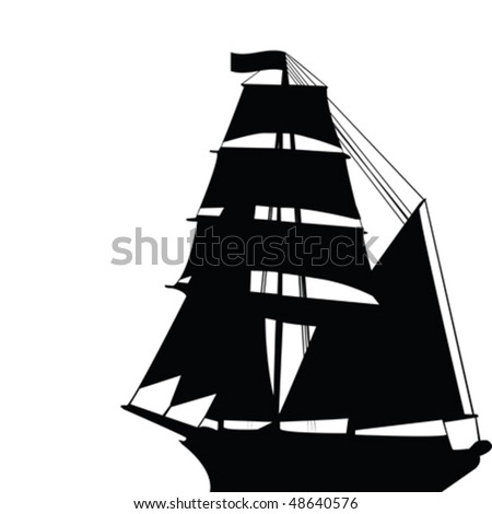 Black old brigantine silhouette - stock vector