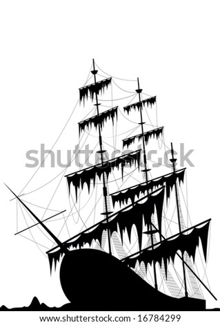 Black old ship at the sea ground - vector - stock vector