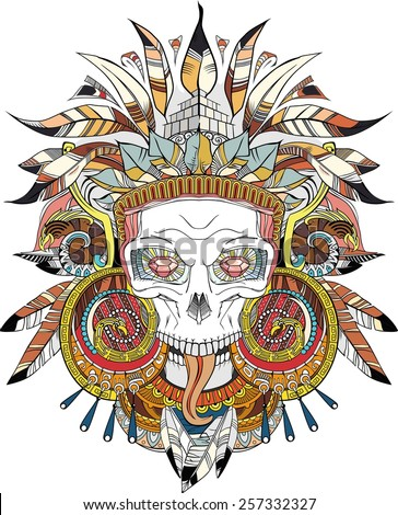 black on white Aztec indian Skull, vector illustration - stock vector