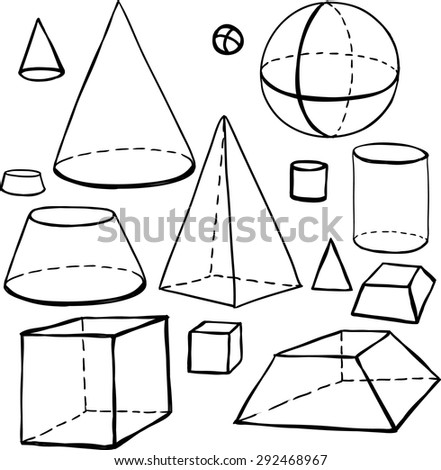 Black outline hand drawn vector cube, pyramid, cylinder, sphere, cone set. Cute doodle modern school education geometric isolated elements - stock vector